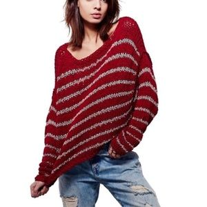 FREE PEOPLE Striped 'Over Easy' Oversized Sweater